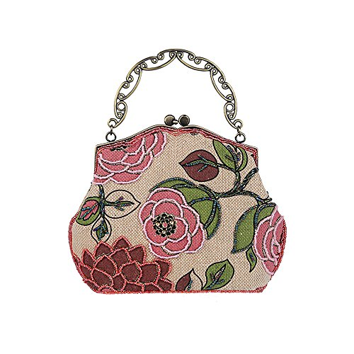 Ya Handbag Vintage Jin Women's Evening Red Bag Linen Purse Clutch Beaded Flower Owa4qOrYx
