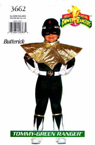 Butterick 3662 Sewing Pattern Tommy-Green Power Ranger Costume Size 4 - (Power Ranger Costume Pattern)