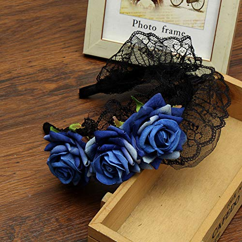 Luccaful New Rose Flower Lace Tiaras Crowns Headband Black Vintage Lolita Style Easter Girls Festival Women Hair Accessories,Blue,Free size]()