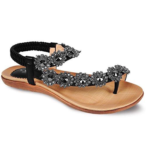 Sapphire - Damen Sandalen Freizeit mit Riemen Sommerschuhe Strass Blumen bequem Schwarz