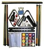 Black Finish Billiard Pool Table Accessory Kit W Marble - Swirl Ball Set