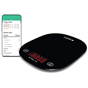 CUBITT Smart Kitchen Scale, Bluetooth Food Scale with Nutritional Calculator for Keto, Macro and Calorie, Digital Grams and Oz for Weight Loss, Cooking and Baking with Smartphone APP (Black Color)