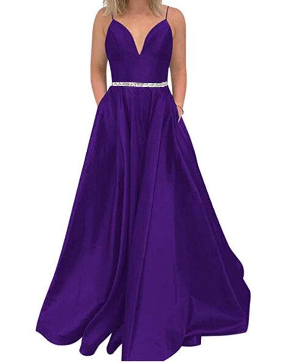 Dark Purple Tsbridal Women's A Line Bead Prom Dresses V Neck Satin with Pockets Evening Gown