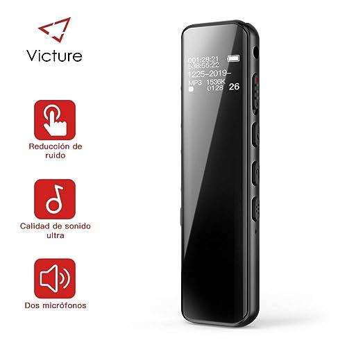 Victure Grabadora de Voz Digital Portátil 8GB 1536kbps Ultra HD Diseño de Espejo Completo Grabador de Sonido con Reproductor de MP3 Micrófono Incorporado Baterías Recargables