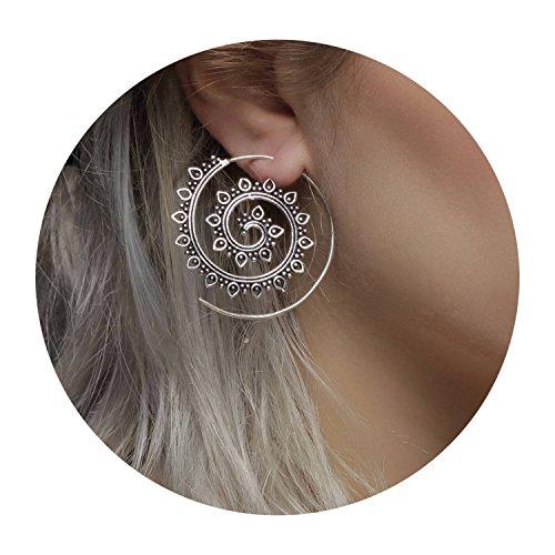 (Dainty Spiral Hoop Earrings Stud Bohemian Vintage Tribal Swirl Style Adjustable Earrings Jewelry Set for Women(Style:leaf) )