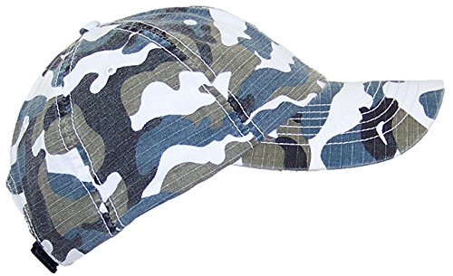 Mega Cap MG Unisex Unstructured Ripstop Camouflage Adjustable Ballcap - Blue Camo