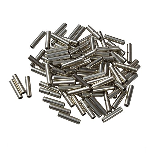 BLACKHORSE-RACING 100pcs Non-Insulated Butt Connectors 22-18 Gauge Uninsulated Electrical Wire Ferrule Cable Crimp Terminal Kit Sliver