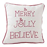 Hallmark Home Decorative Throw Pillow with Insert (14x14 inch), Holiday ''Be Merry, Be Jolly'' with Plaid Back
