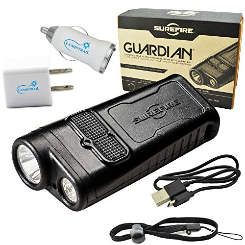 SureFire Guardian Rechargeable Flashlight EDC Dual Beam 1000 Lumens with IntelliBeam Bundle with Lumintrail USB Car and Wall Adapters