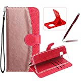Rose Gold + Red Leather Case for Galaxy S8 Plus,Strap Wallet Cover for Galaxy S8 Plus,Herzzer Stylish Pretty Mandala Flower Print Color Block Magnetic Stand Case with Soft TPU