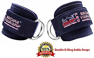 Grip Power Pads Best Ankle Straps for Cable Machines Double D-Ring Adjustable Neoprene Premium Cuffs to Enhance Legs, Abs & Glutes for Men & Women (Black, Single)