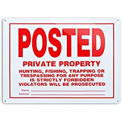 "Dxsigns Posted Private Property Sign,No Hunting Trespassing Signs,No Trapping Sign 10""x14"" Rust Free,30-mil Aluminum UV Printed,4 pre-drilled Holes.Durable/Weatherproof for Outdoor"