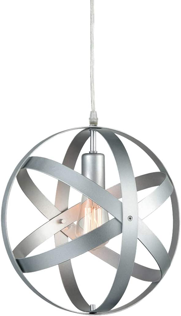 Truelite Industrial Vintage Pendant Light Silver Gray Metal Globe Downlight Chandelier