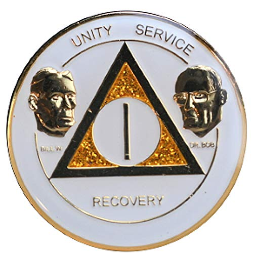Recovery Line 7 Year AA Medallion - Alcoholics Anonymous White & Gold with Bill & Bob - Sobriety Chip, Token, - 24kt 7 Coin Gold