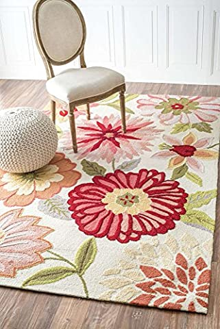 Modern Floral Area Rug Living Room Bedroom Dining Room Rugs Pink Red Multi Vibrant Colors Floor Mats Country & Floral Style (7' 6