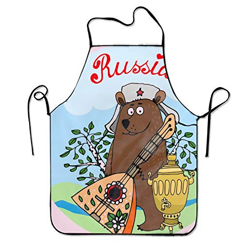 JONHBKD Bear Cooking Apron,Funny BBQ or Kitchen Aprons,Machine Washable,Premium Quality Bib Aprons for Women and -