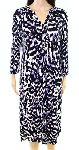 Lord & Taylor Purple Womens Medium Animal-Print Gown Black M
