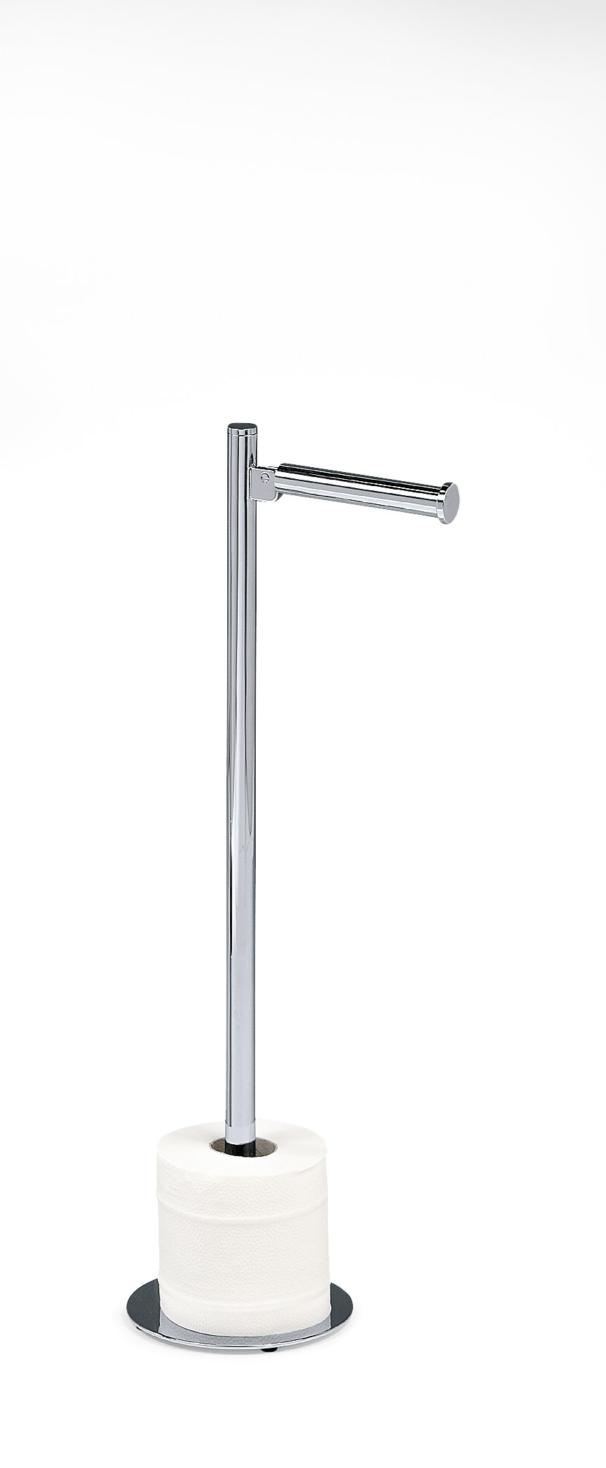 DWBA Free Standing Brass Toilet Paper Holder for Bathroom Storage/ Bathroom Paper Toilet Dispenser Tissue Roll Hanger Holder Spare Contemporary Round (Polished Chrome)