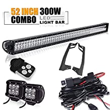 TURBO SII 52 inch 300w Jeep Wrangler 07-15 Led Light Bar and 2 Pcs 18w Led Spot Beam Pods Work Lights with Remote Control Wiring KIT 3 Lead,mounting Brackets