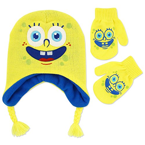 Nickelodeon Toddler Boys Spongebob Squarepants Acrylic Knit Contour Winter Hat with Tassles and Matching Mitten Set, Multi, One Size - Krusty Krab Hat