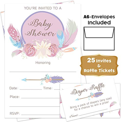 Boho Floral - Pink Baby Shower Invitations Girl with Envelopes and Diaper Raffle Tickets. Set of 25 Floral Fill in The Blank Style Invites with Envelopes - Flower Shabby Chic Baby Shower Invitations