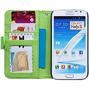 Bloutina Bfun Packing Green Card Slot Stand Wallet Leather Cover Case For Samsung Galaxy Note 2 N7100