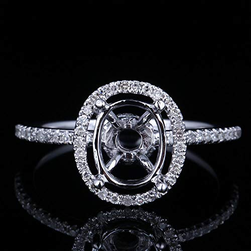 FidgetKute Solid 14Kt White Gold Natural Oval Cut 6x8mm Semi-Mount Halo Ring Sets ()