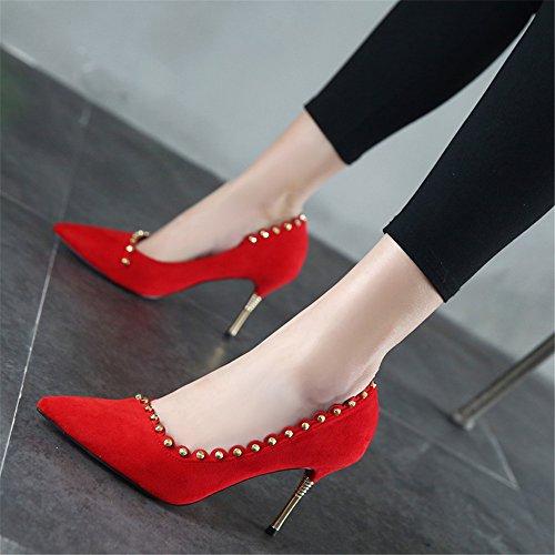 Decorado Puntiagudos Rojo De Remaches Zapatos Tacones Moda Con Xzgc Gamuza Novia Simple Objetos g1Y6O