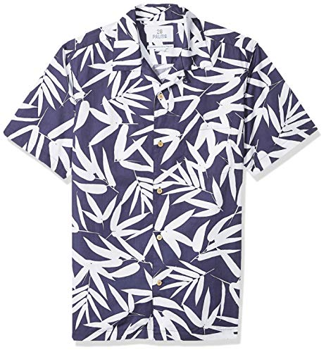 28 Palms Men's Standard-Fit 100% Cotton Tropical Hawaiian Shirt, Navy/White Bamboo Leaves, Small