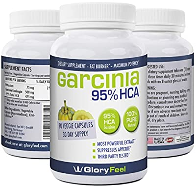 95% HCA, Pure Garcinia Cambogia Extract, Third Party Tested, 90 Caps, Extremely Powerful To Lose Weight Faster, Maximum Appetite Suppression and Fat Burning