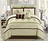 King Size Bedding and Curtain Sets 8 Piece Oversize Sage Green / Beige / Brown Tropical PALM TREE Embroidered Luxury Comforter Set King Size Bedding 104