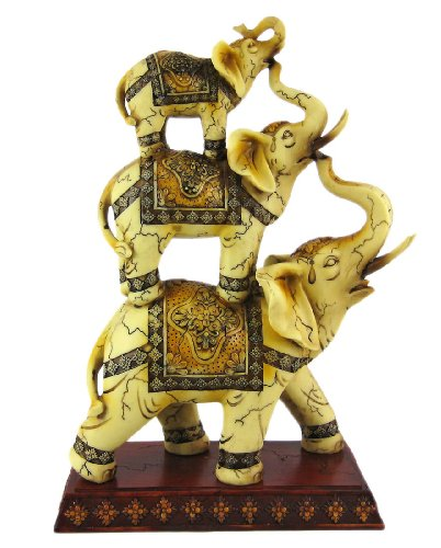 Trunk Up Good Luck Ivory Stacked Elephant Trio Statue Figurine Collectible 11.75