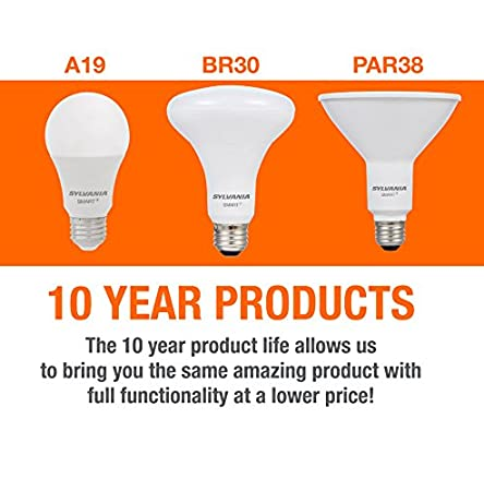 Works with SmartThings and Alexa Sylvania Smart Home 74580 Dim Sylvania Smart+ LED Light Bulb PAR38 Dimmable White 10 Year Series Soft 60W Equivalent