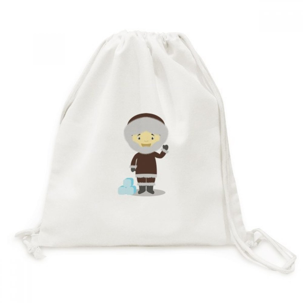 Cold Jacket Greenland Cartoon Canvas Drawstring Backpack Travel Shopping Bags