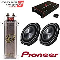 PIONEER 12 1,500-Watt Shallow-Mount Subwoofer with Single 4ohm Voice Coil + Cerwin Vega HED Class D/ 2400W MAX SQCAP2M Power Capacitor