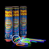 "Glow Sticks Bulk 300 Count -  8"" PartySticks Brand Premium Glow In The Dark Light Sticks - Makes Tons of Glow Necklaces and Glow Bracelets (3 Tubes of 100)"
