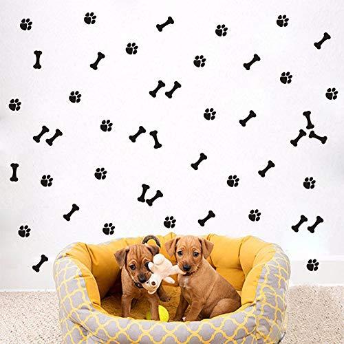 TOARTi Pet Paw with Bone Wall Decal (34pcs), DIY Cat Dogs Footprint Puppy Bone Wall Sticker for Pet Shop Decor, Animal Nursery Bedroom Wall Art ()