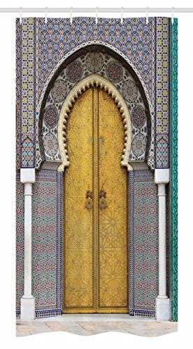 Ambesonne Arabian Stall Shower Curtain, Yellow Door of Royal Palace in FES Morocco Vintage Moroccan Artwork Mosaic Style, Fabric Bathroom Decor Set with Hooks, 36 W x 72 L inches, Multicolor