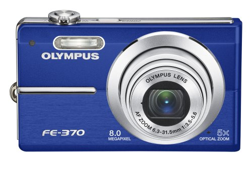Olympus FE370 8MP Digital Camera with 5x Optical Dual Image Stabilized Zoom (Blue)