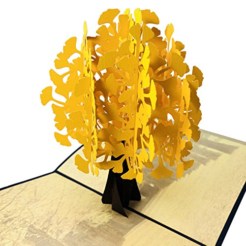 Ginkgo Biloba Maidenhair Tree - Wow Ginkgo Biloba Maidenhair Tree - 3D Pop Up Greeting Card for All Occasions Birthday, Love, Anniversary, Good Bye, Thank you, Mother Day,Valentine Friendship Sympathy Get Well - Premium, Handcrafted