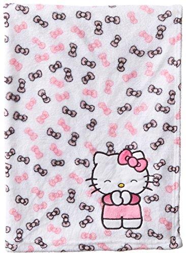 Hello Kitty Baby-Girls Newborn Printed Plush Blanket with Bow Print