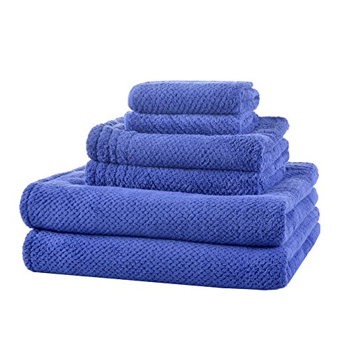 LUCKISS Super Soft Premium Family Microfiber Bath Towel Set Quick Dry Ultra Absorbent 2 Large Bath Towels for Bathroom and Beach, 2 Hand Towels, 2 Face Towels(6 Pack) (Family Set Towels)