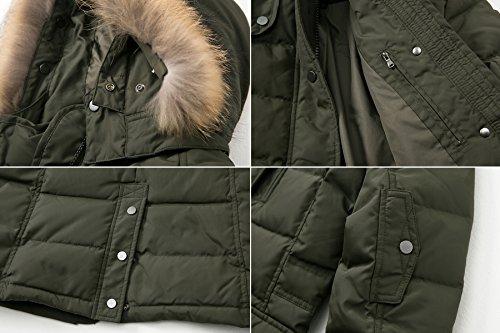 Escalier Women`s Down Coat With Raccoon Fur Hooded Winter Jacket Army Green XL by Escalier (Image #6)