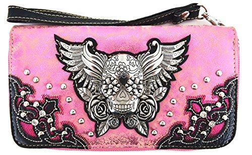 Blancho Ropa de cama Mujer [patrón clásico] Bolsa de cuero de PU Bolsa Handbad bolso elegante Wallet-Rosa