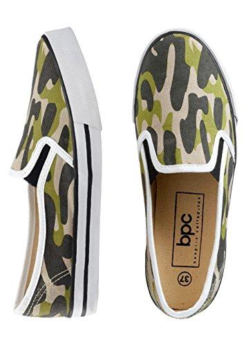 Neu Herren Freizeit Schuhe in Gr. 45 Camouflage Grün Slipper 938225 -54A