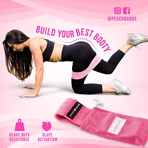Peach Bands | Premium Pink Resistance Hip Band with Carrying Bag | Thick and Non-Slip Design