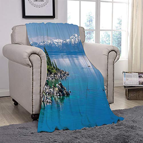 t Fleece Throw Blanket/Landscape,Blue Waters of Lake Tahoe Snowy Mountains Pine Trees Rocks Relax Shore,Light Blue Green Grey/for Couch Bed Sofa for Adults Teen Girls Boys ()