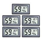 EEEKit 5-Pack Mini LCD Digital Electronic Temperature Humidity Meter Indoor Thermometer Hygrometer (Black) (5-Pack)