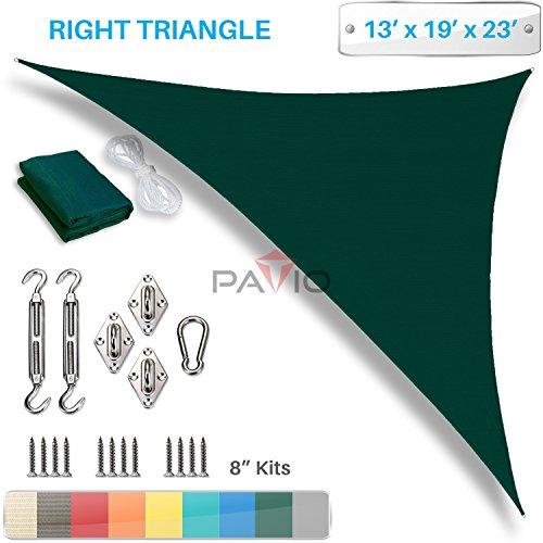 Patio Paradise 13' x 19' x 23' Sun Shade Sail with 8 inch Hardware Kit, Green Right Triangle Canopy Durable Shade Fabric Outdoor UV Shelter - 3 Year Warranty - Custom Size Available