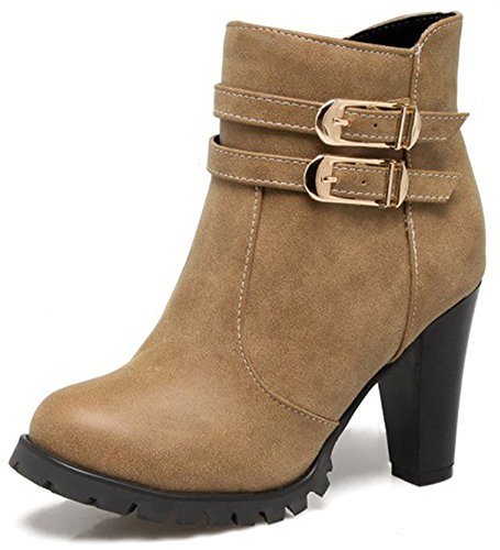 Easemax Women's Elegant Zip Up Chunky High Heeled Pointed Toe Ankle High Martin Booties Yellow aSAIsqI